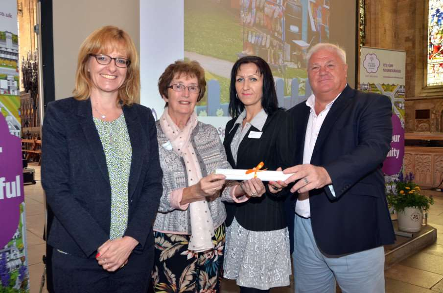 East Midlands in Bloom Awards Presentation, Spalding presented by Alison Fox - Angela Newton, Gunta Sele, Pete Williams