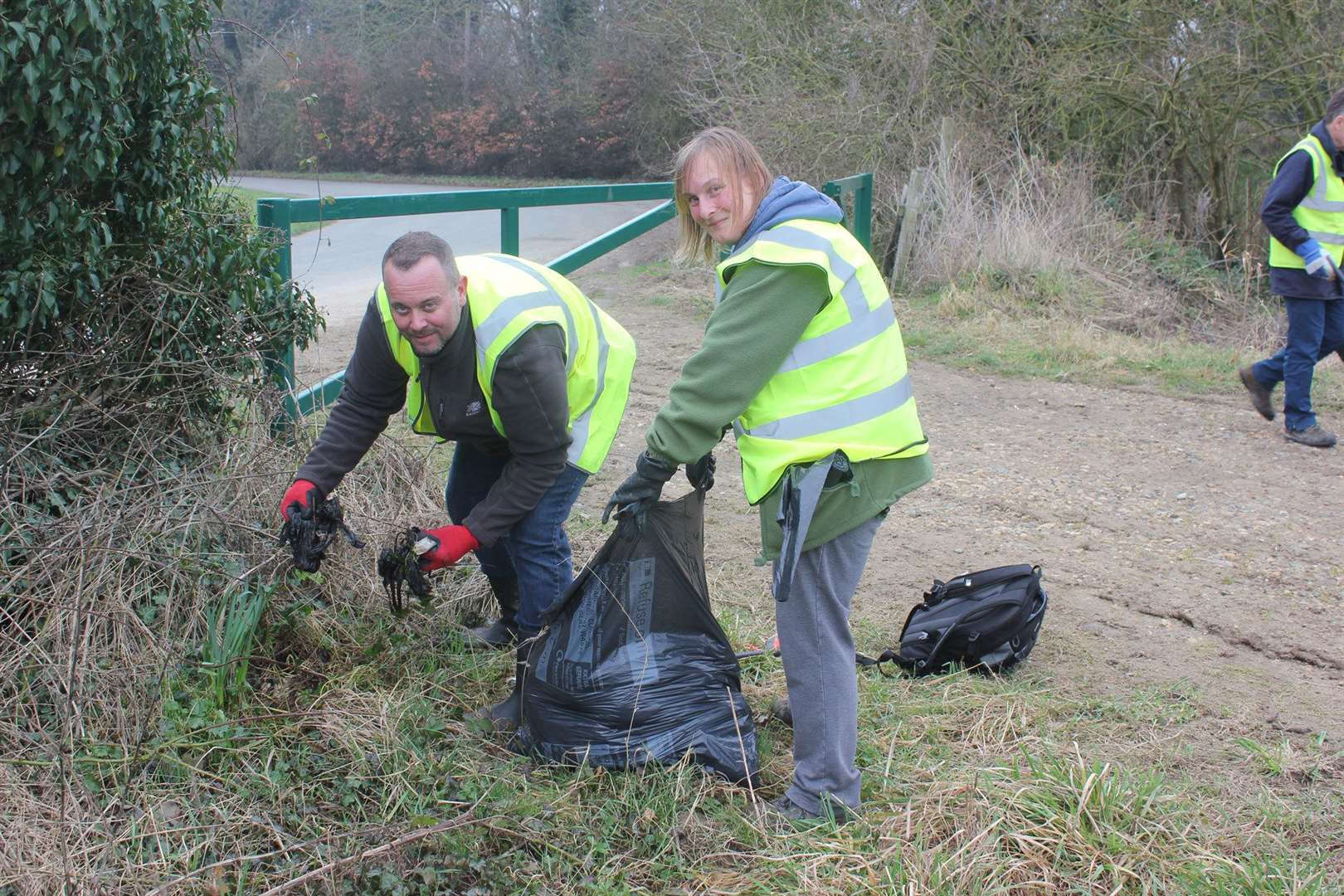Flytipping Watch's founder Mark Douglass with a volunteer, clearing up litter on Stumps Lane (image provided by Flytipping Watch) (7412028)