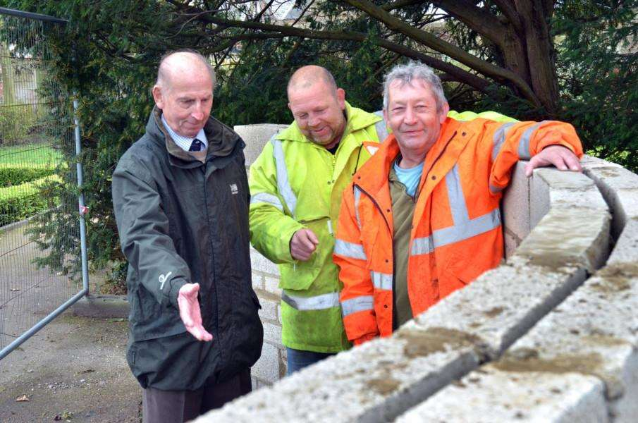 Paras chairman David Allmond (left) with proud builders Mark Wilson and Karl Halgarth, of Dorset Homes Lincs. SG040418-122TW