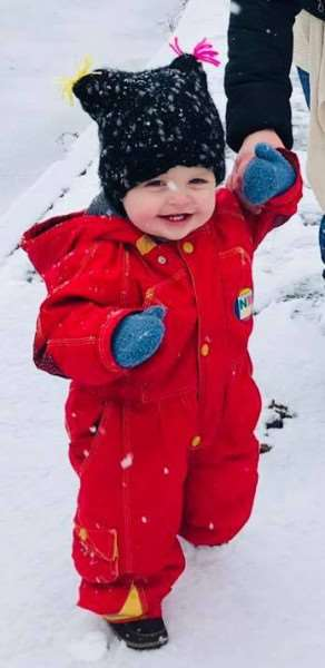 Maverick Griffiths (14 months) taking his first steps in the snow, in Holbeach. Photo: Kimberley Griffiths