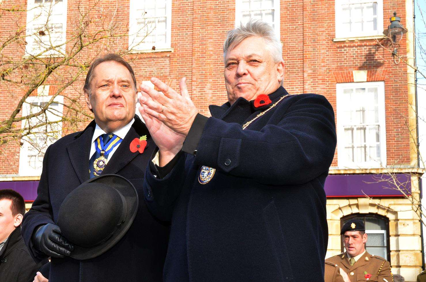 Coun Rodney Grocock (right), chairman of South Holland District Council, with Sir John Hayes, MP for South Holland and the Deepings, at Spalding's Remembrance Day parade. Photo by Tim Wilson. 11118-22