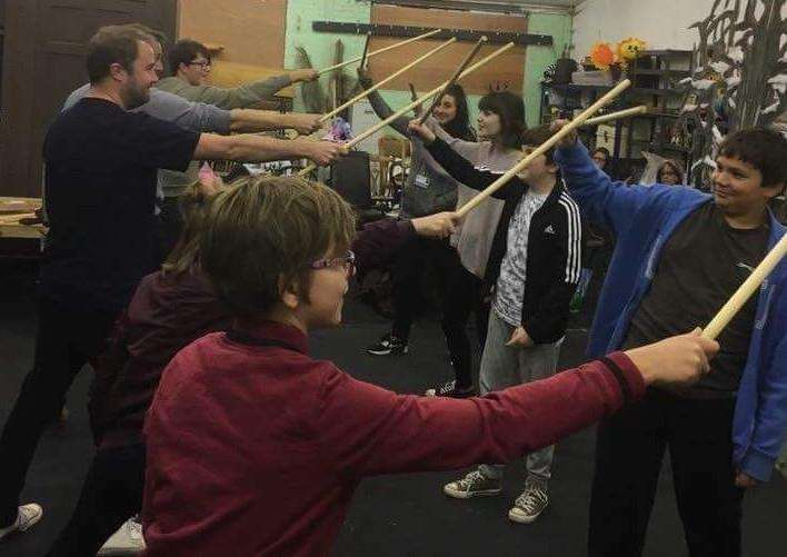 SADOS actors rehearse a battle scene in The Lion, The Witch and The Wardrobe.