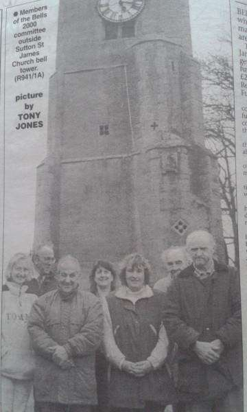 Members of the Bells 2000 committee outside Sutton St James Church bell tower.