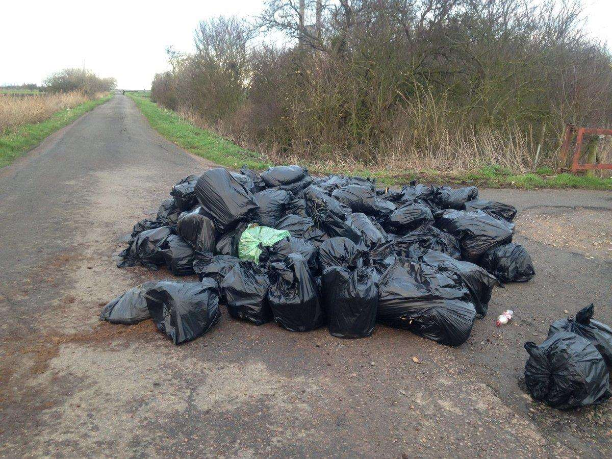 Fly tipping in Crowland. (6245004)