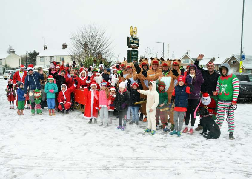 Santas, reindeer, elves, snowmen and Christmas fairies ready to set off in the snow from The Birds in Halmer Gate. SG101217-118TW