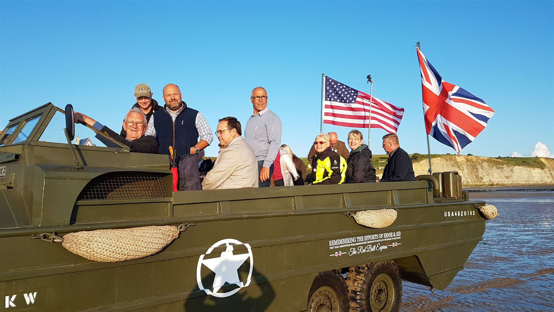 Harold Payne and members of the group in the restored amphibious vehicle used originally in Normandy(11906592)