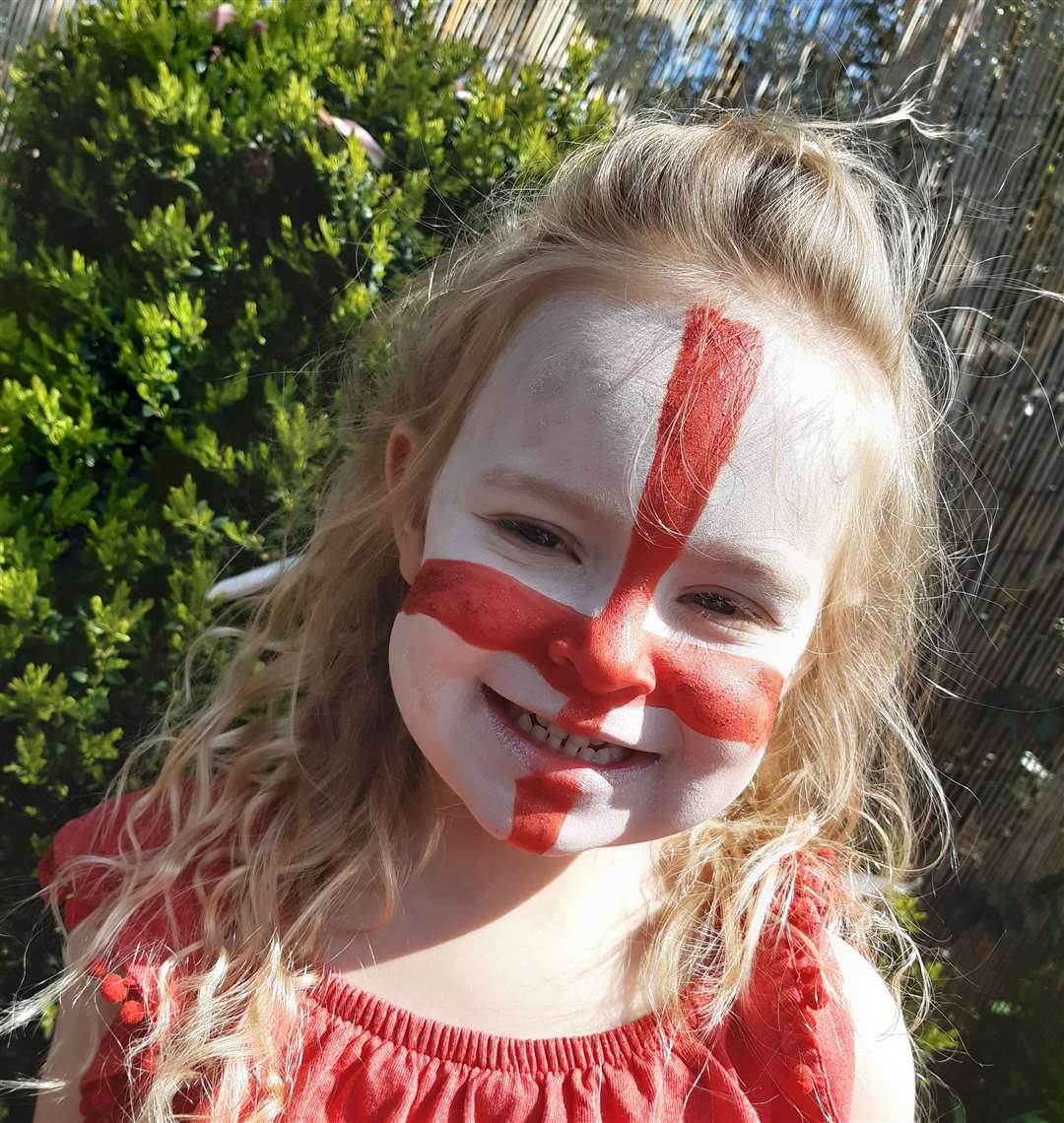 Lyla Gurney, four, celebrates St George's Day
