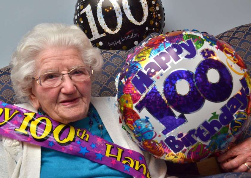 Lois Burton pictured at her big party at Gosberton House Care Home. SG100218-270TW