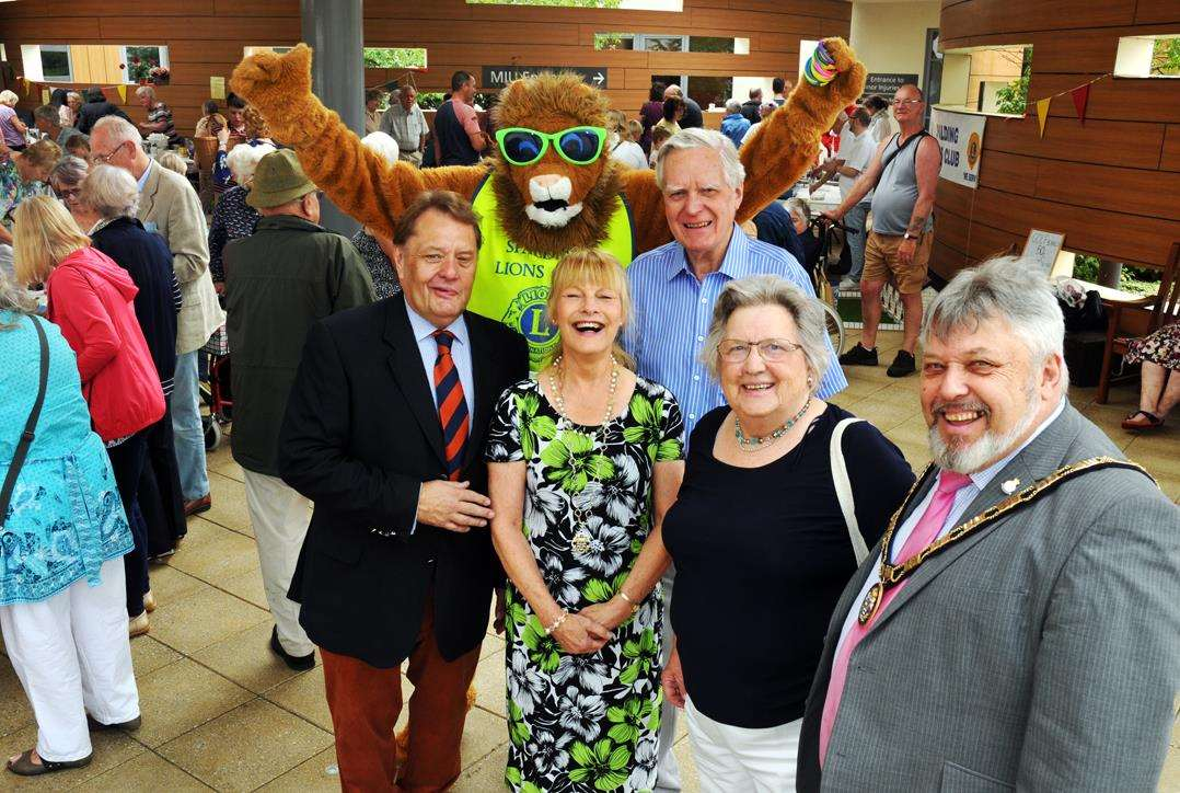 South Holland and the Deepings MP John Hayes supported the event. Pictured with Spalding Lion Terry, South Holland District Council chairman Rodney Grocock and his wife Christine (a Friend of Johnson Community Hospital); Friends treasurer Elizabeth Britten and her husband Rodney.