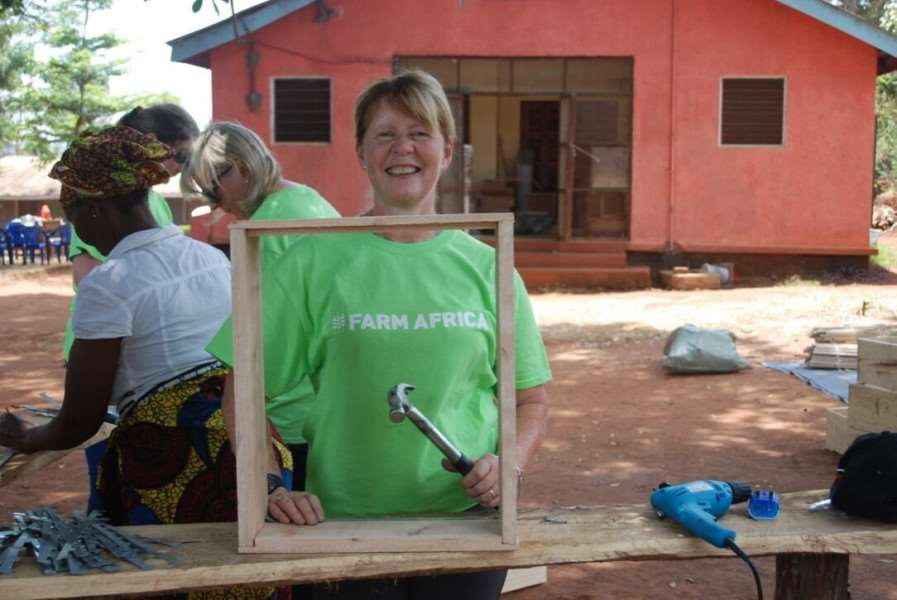 Ann Savage at work on day one of the build