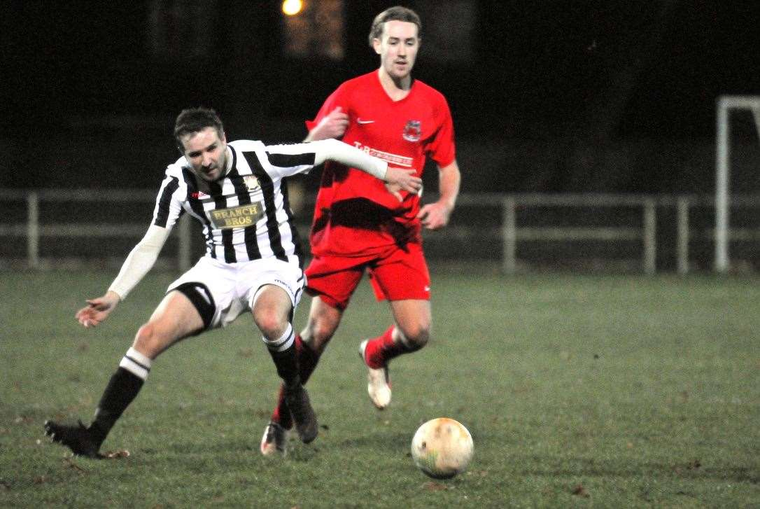 Dan Worthington wore the captain's armband for Pinchbeck United at Wellingborough Town.