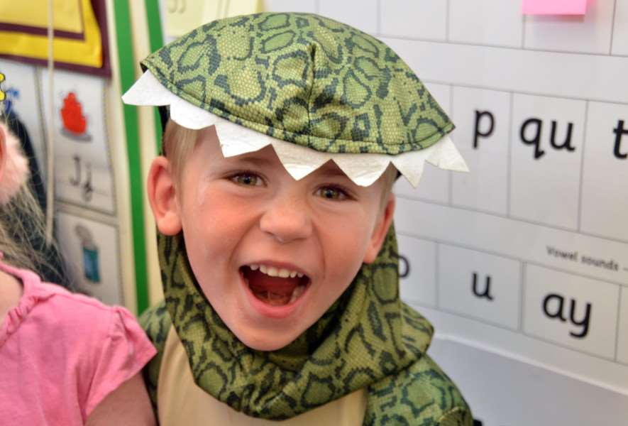 Surfleet Primary School, Startling Stars dinosaur project,'Pupils in dinosaur costumes - Elliott