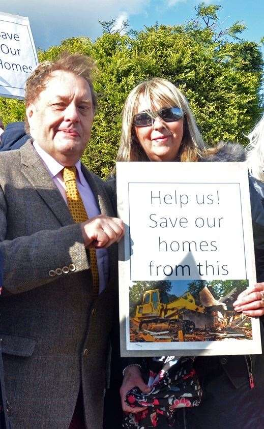 MP John Hayes with one of the protest organisers, Amanda Halifax (7664570)