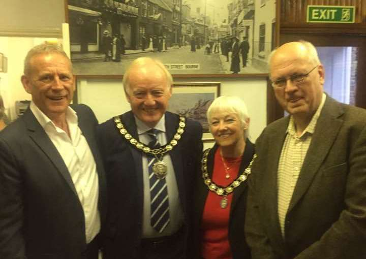David Maile (left) and Michael Gilbert (right) of the WakeHereward Project, pictured with Mayor and Mayoress of Bourne Paul and Judy Fellows. Photo supplied.