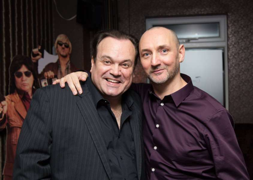Barry from Eastenders, actor Shaun Williamson, with Mark Noyce. Photo: Nikki Noyce