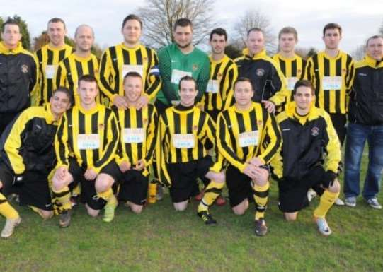The Holbeach United Reserves team, managed by Joe McKeown, that won back-to-back PDFL Combination League titles and three Spalding Inter-Services Trophies. ''Photo supplied by Holbeach United FC.
