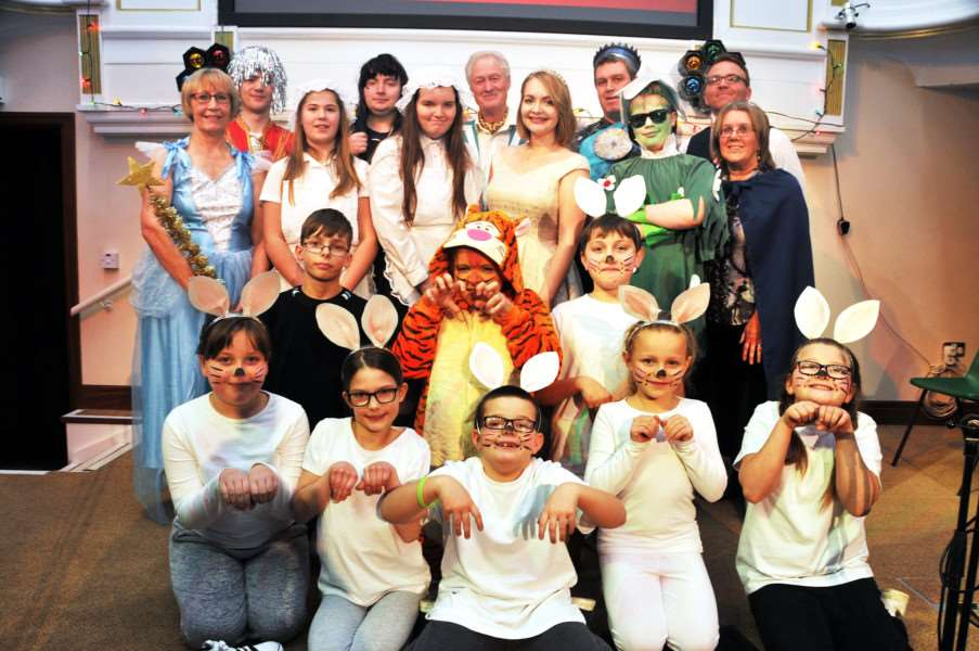 The cast of Spalding Baptist Church's panto