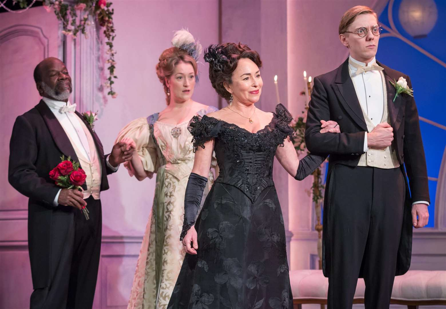 Joseph Marcell (Lord Lorton), Victoria Blunt (Mrs Cowper-Cowper), Samantha Spiro (Mrs Erlynne) and Joshua James (Lord Windermere) in Lady Windermere's Fan, part of Oscar Wilde Season LIVE at the Vaudeville Theatre, London. Photo by Marc Brennar. (3497906)