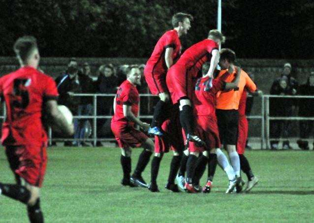 Celebrations after Pinchbeck made it 3-3