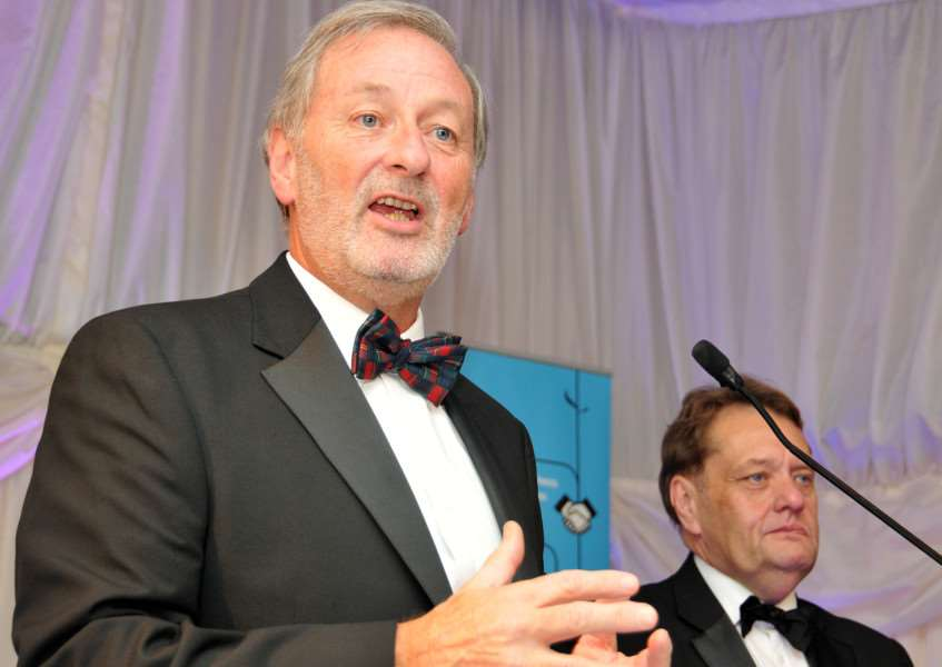 Phil Scarlett speaking at the Business Awards with MP John Hayes by his side. SG201114-339TW