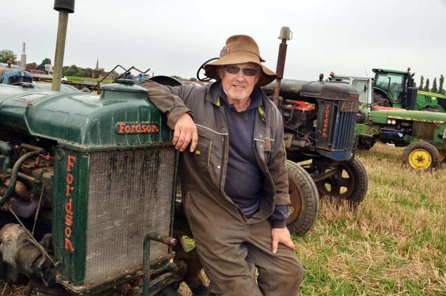 Robbie Thorpe with 1940s Fordson. (SG230917-143TW)