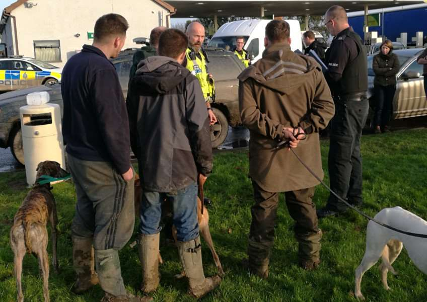 Police talk to suspected hare coursers during Wednesday's day of action