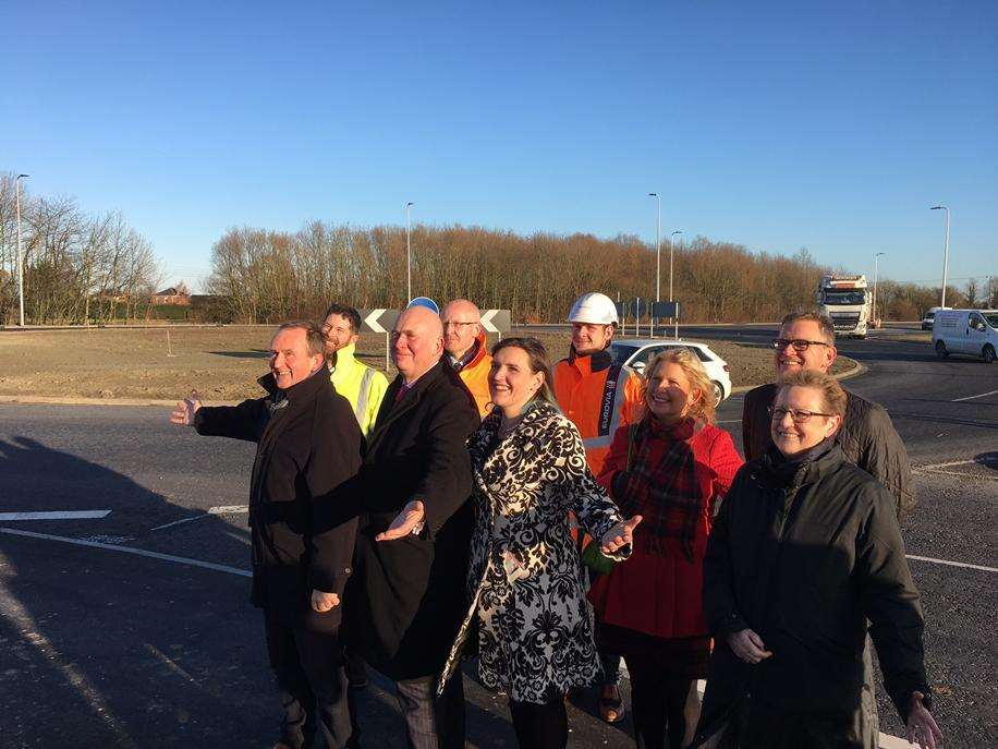 Couns Nick Worth (front left), Colin Davie and Clio Perraton-Williams, Halina Davies, Professor Val Braybrooks, Dean of NCFM, Holbeach, (back), Craig Otter, Matt Stubbings, Alex Biehn and Simon Wright at the opening of Peppermint Junction roundabout in December 2017. Photo by Lincolnshire County Council.