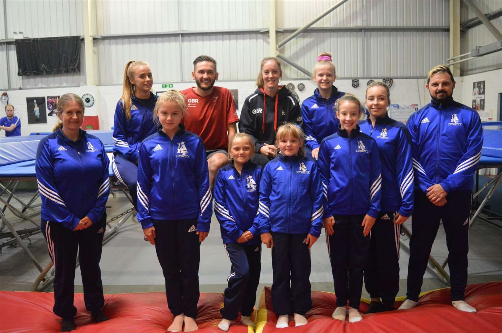 Abbey High Fliers Trampoline Club meeting double Olympian Kat Driscoll and European Championship medallist, Luke Strong in October 2018.Photo supplied.