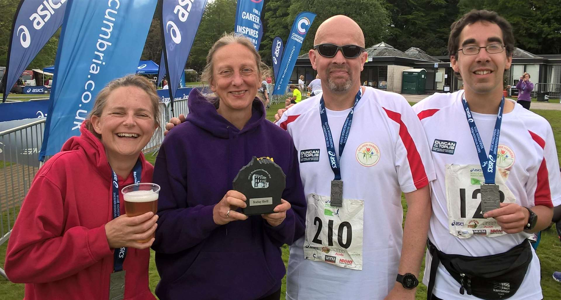 Windermere Marathon runners and Halmer Harriers members Lisa Gill, Diane Morris, Steve Tucker and Rob Hammond. Photo by Rob Morris. (2457837)