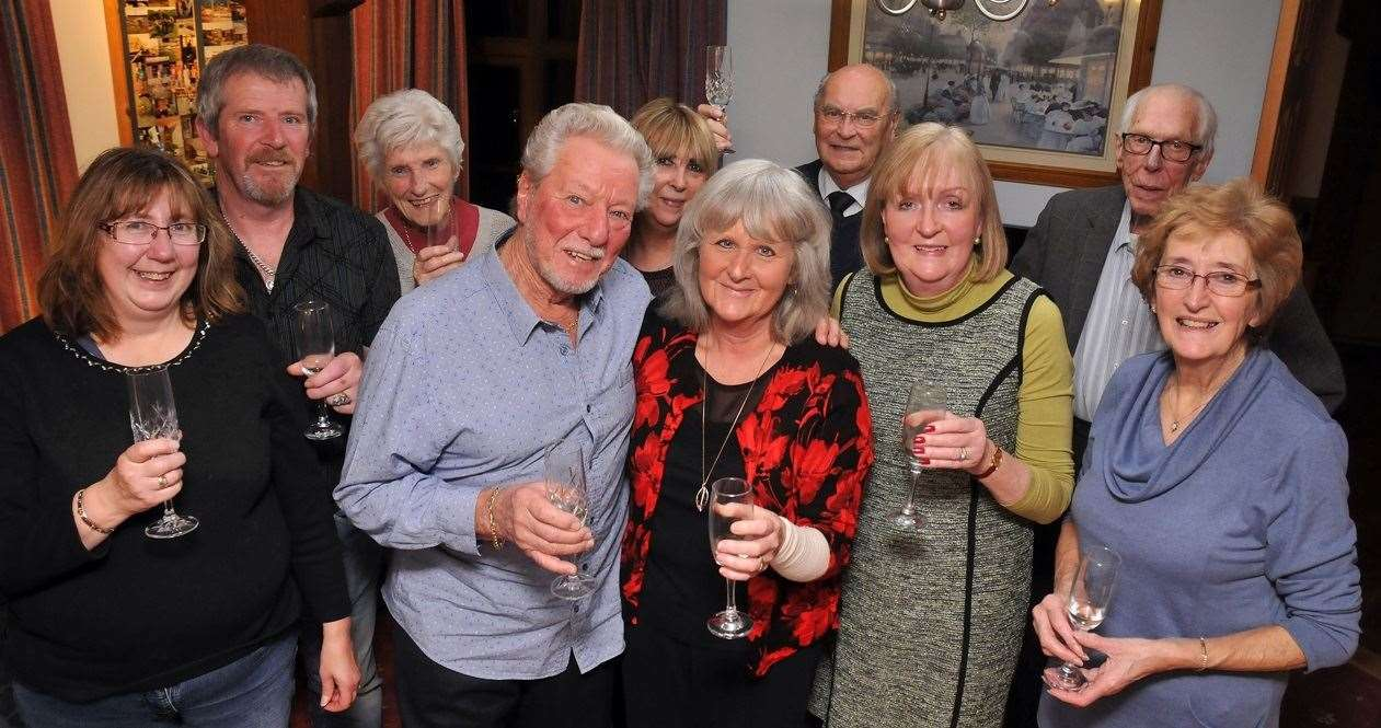 Frank and Catherine Roberts (centre, front) with, from left, Tracy Holland, Richard Holland, Audrey Willows, Amanda Halifax, Ken Willows, Coun Elizabeth Sneath, Alan Porter and Coun Angela Newton
