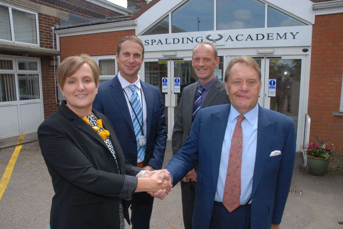 Executive head teacher Lucy Conley meets Sir John Hayes at Spalding Academy, with deputy head Brett Sinclair and Tom Martin.Photo by Tim Wilson.SG-080719-14.