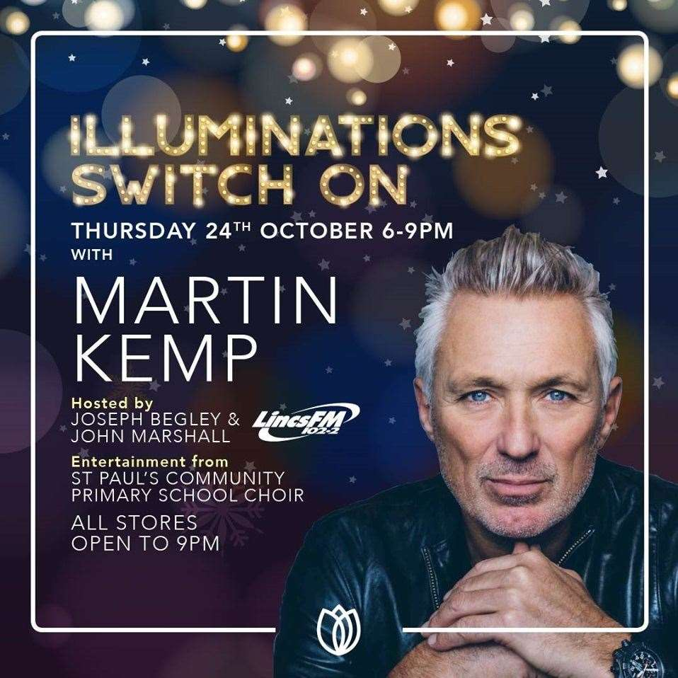 Martin Kemp is switching on Springfields' Christmas lights on Thursday, October 24.
