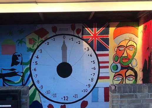 Artwork inside a bus shelter in Wignals Gate, Holbeach. Photo supplied by Holbeach Parish Council.