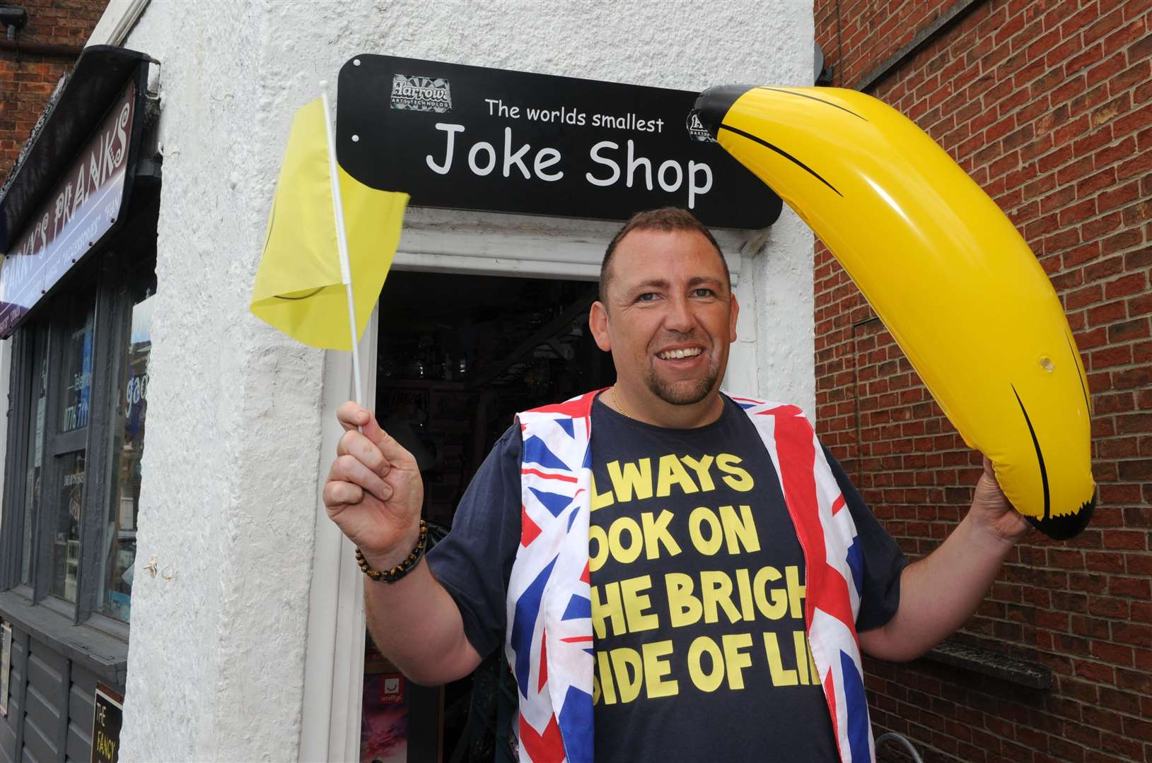 Gary Parkinson outside his joke shop, Parky's Pranks, in The Crescent, Spalding.Photo by Chris Lowndes.