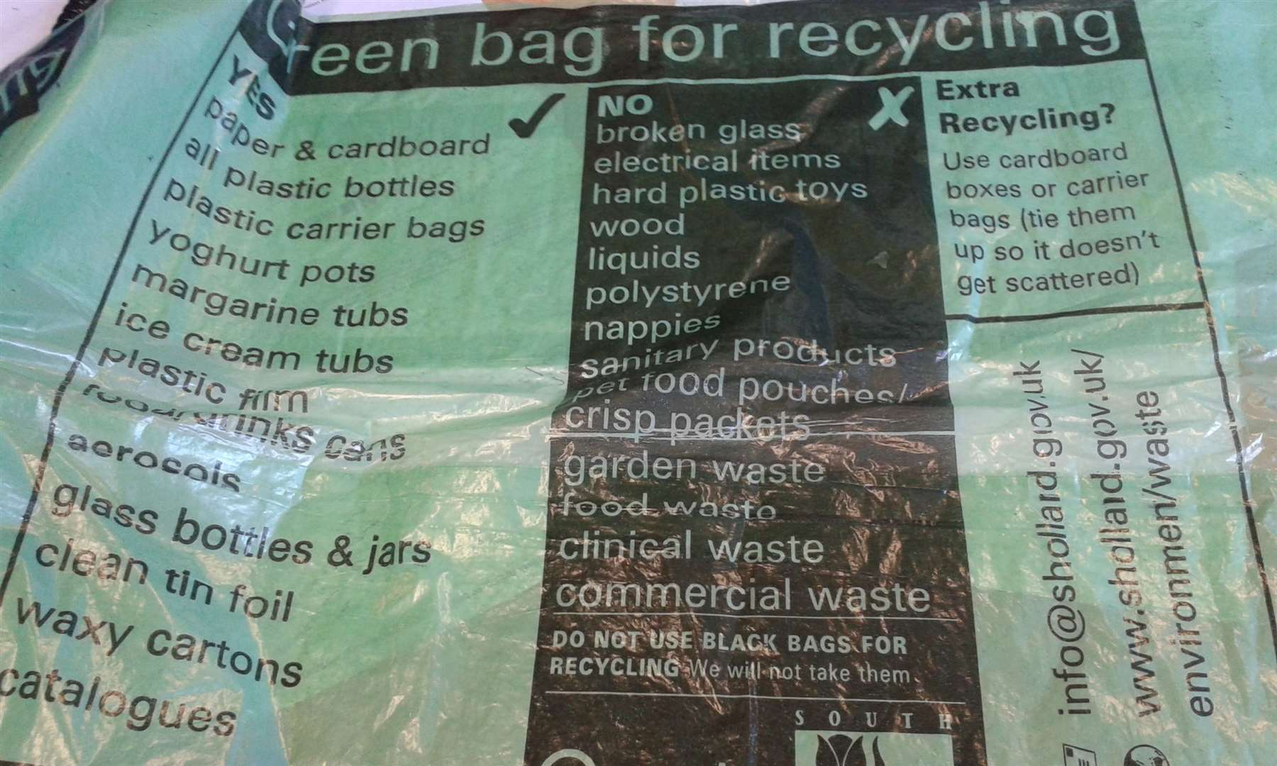 Up until now paper and card have gone into general green recycling bags provided by South Holland District Council