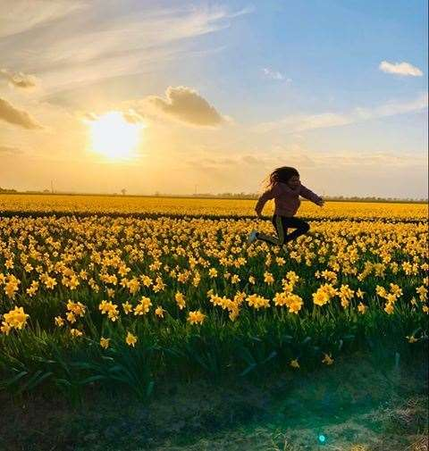Linzi Stubbs sent us this glorious picture of her daughter Jasmine (10) embracing the outdoors while the two were on their daily dog walk in Holbeach St Marks.