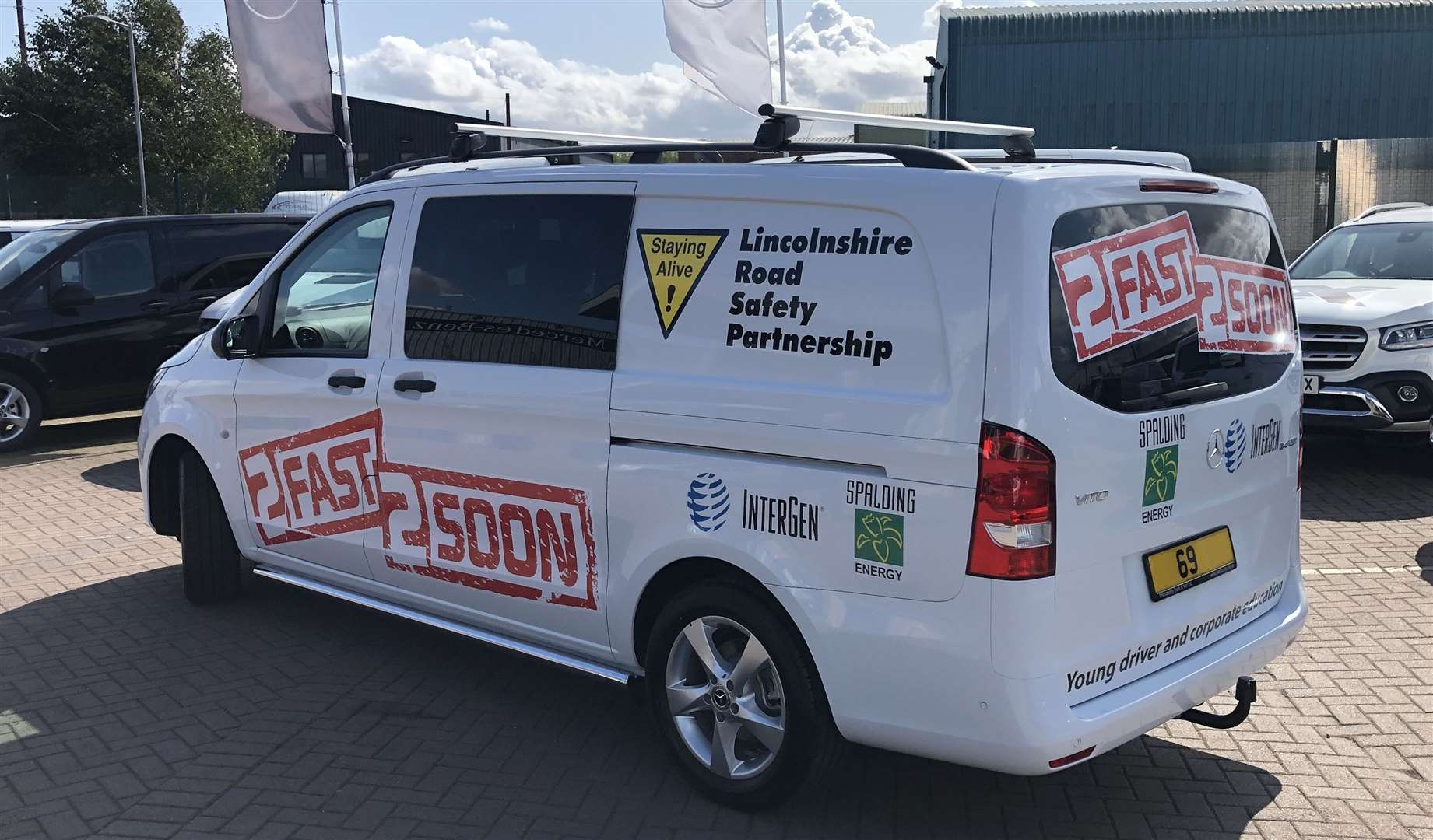The new van provided by Intergen, owners of Spalding Power Station, for the 2fast2soon driver safety campaign run by Linolnshire Road Safety Partnership.Photo supplied.