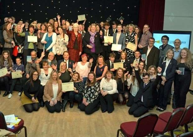 BIG NIGHT: Winners, award sponsors and guests at the Lincolnshire Free Press and Spalding Guardian Education Awards in 2016.Photo by Tim Wilson. SG101116-227TW.