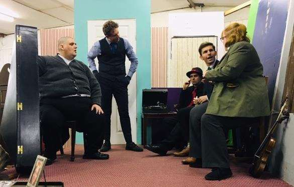 Jonathan Tibbs (One-Round), Kevin Sharp (Professor Marcus), Zack Colam (Louis), Callum Forman (Harry) and Laura Scott (Major Courtney) in SADOS's production of The Ladykillers at South Holland Centre, Spalding, until Saturday. Photo supplied by SADOS.