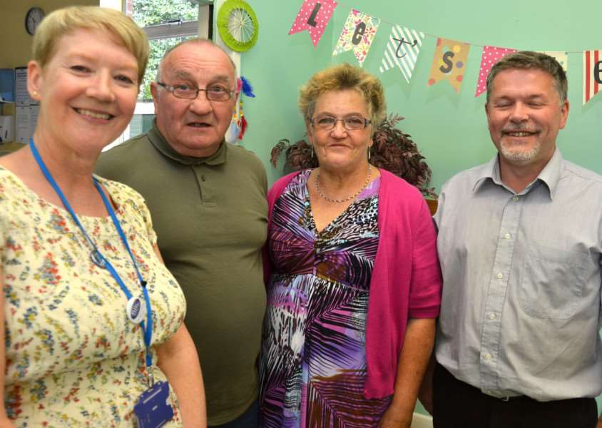 Happy Breathers' first birthday party in Spalding last August with group leader Suzanne Willis, founder members Denis Burke and Elizabeth Legg, and LCVS chief executive David Fannin. Photo by Tim Wilson. SG310817-106TW.