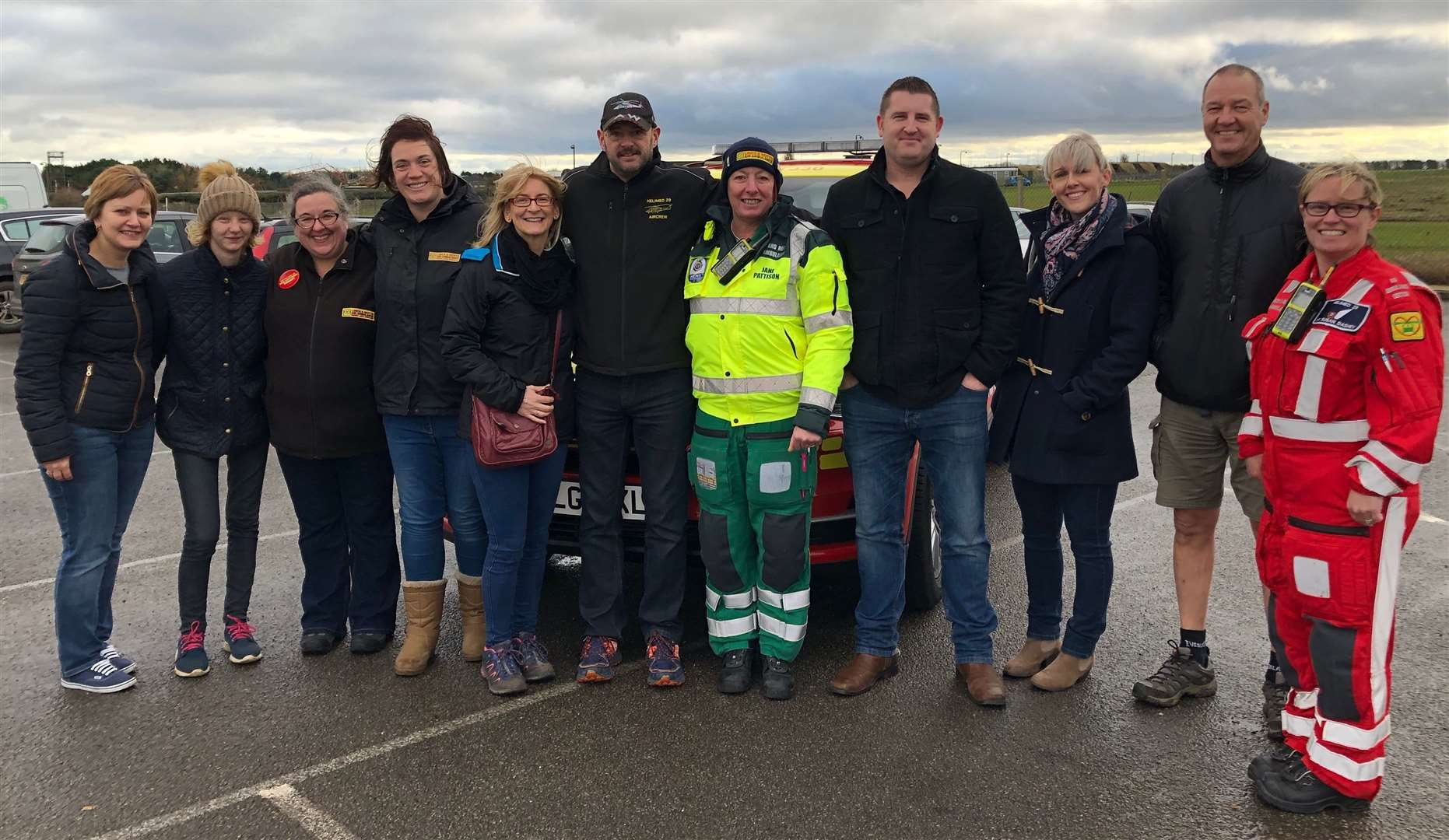 Sarah Draper (third right) with other volunteers for the Sahara Desert Trek at RAF Waddington where Lincs and Notts Air Ambulance is based.Photo supplied.