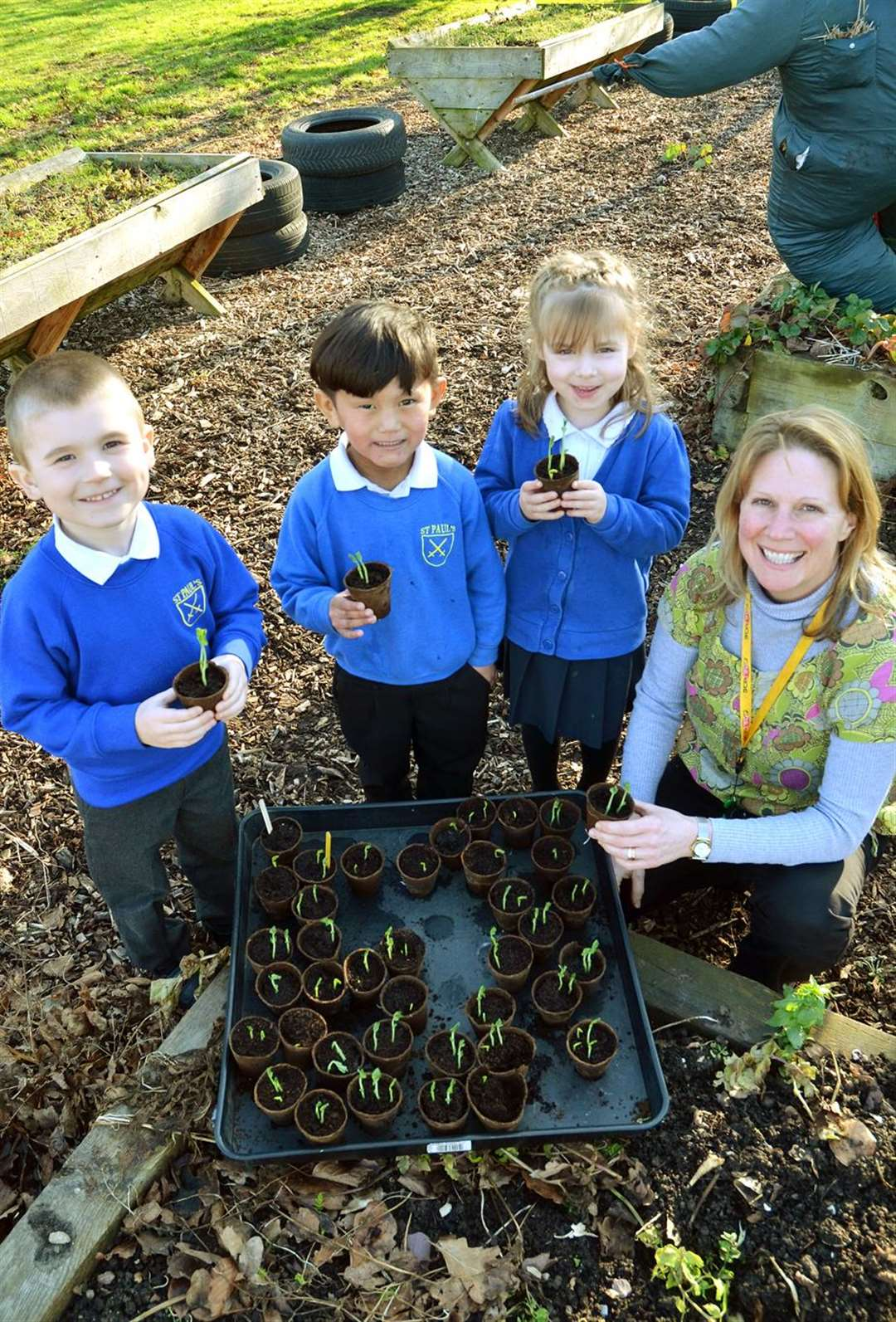 Reception teacher Catherine Wayland with Oskar, Danisa and Madalena, who are holding peas they've grown. (150219-19)