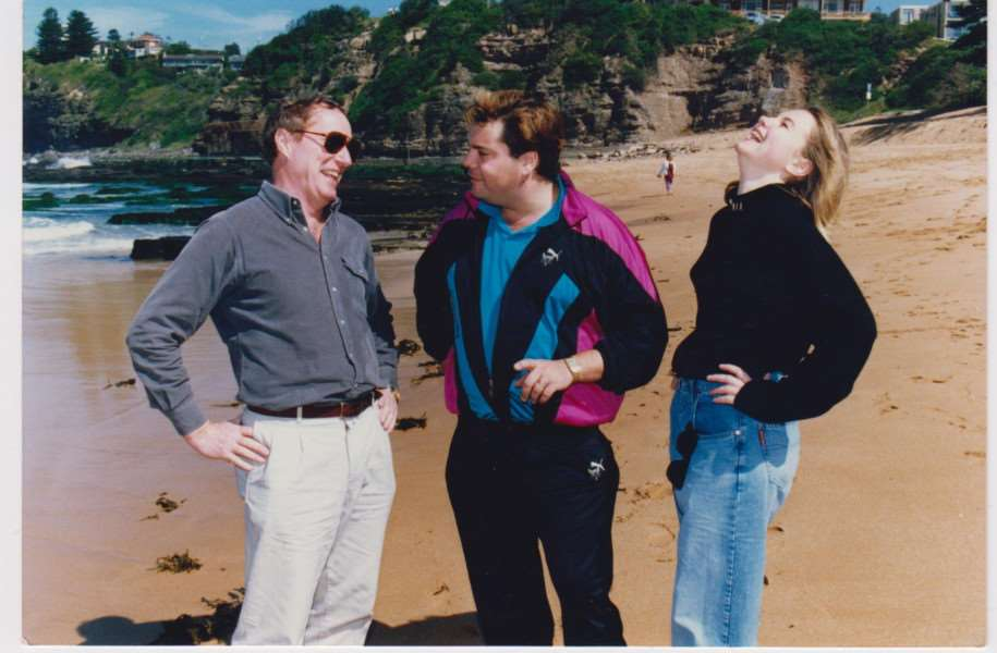 Paul Hammond (centre) with actors Ray Meagher (Alf) and Justine Clark ('Roo') in Home and Away. The photo was taken during a break in rehearsals before the Home and Away UK tour in 1991. (Photo supplied)