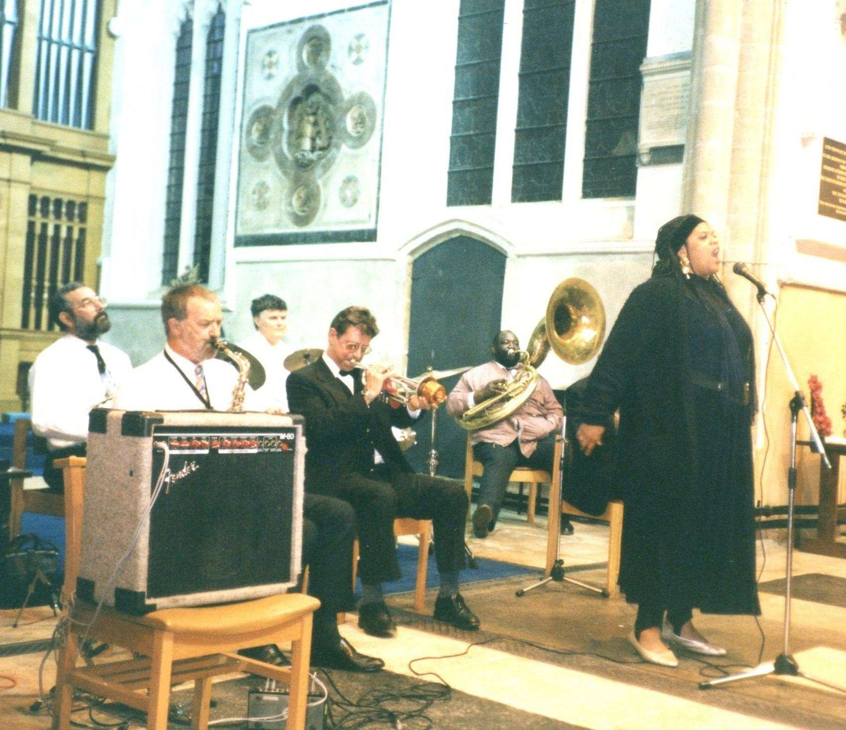 "John Petters at the 1995 first performance of his ""Walkin' With The King"" Gospel show at St Peter's Church, Wisbech, which featured the New Orleans Gospel star, Lady Linda Young and the legendary Tuba 'Fats' Lacen. (23220631)"
