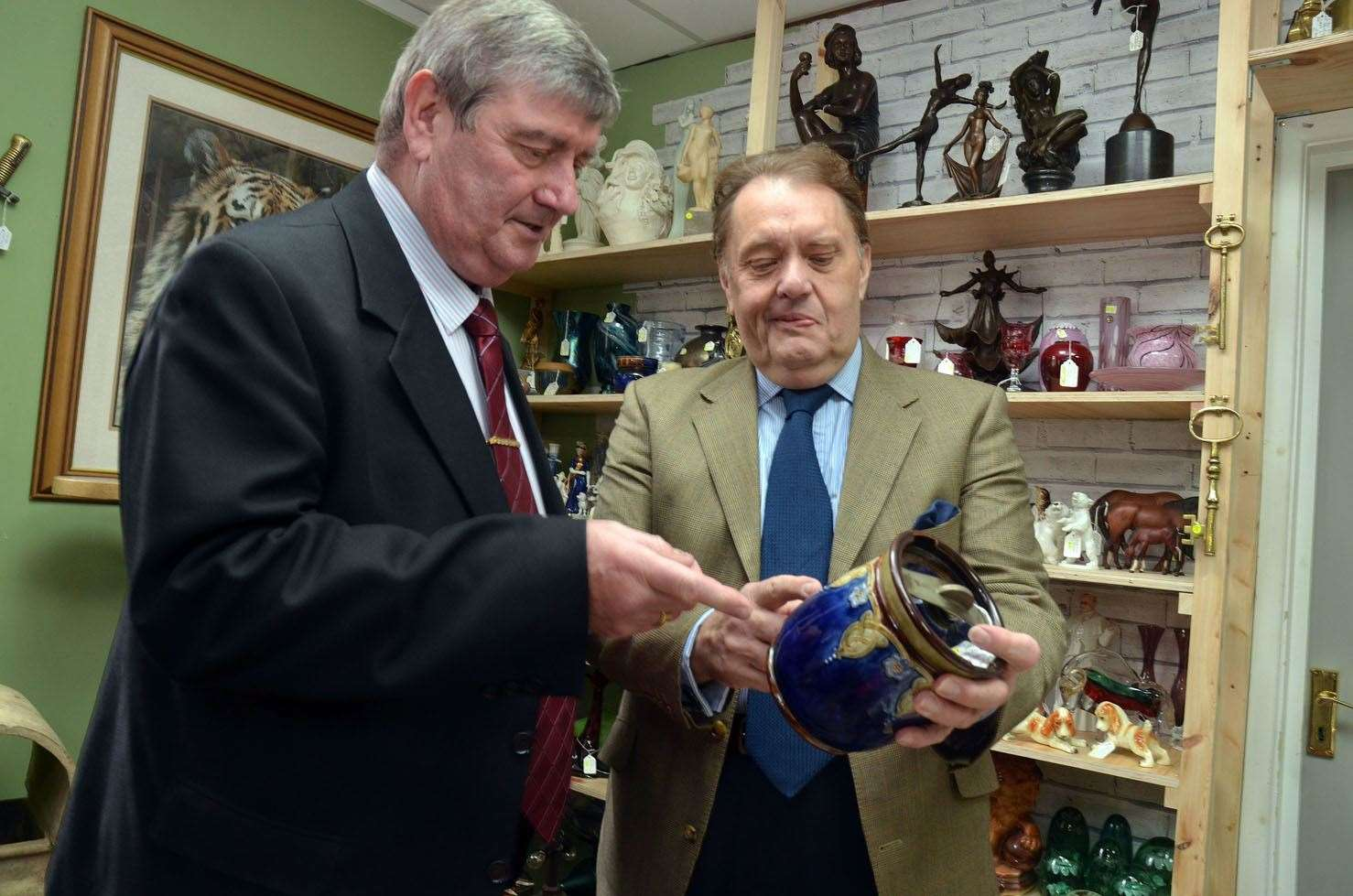 Sir John Hayes MP with antiques dealer Justin Grimshaw (left) at the official opening of Pendragon Antiques after its relocation from Pinchbeck to Pearl and Ruby, Red Lion Street, Spalding. Photo (TIM WILSON): SG-060419-010TW