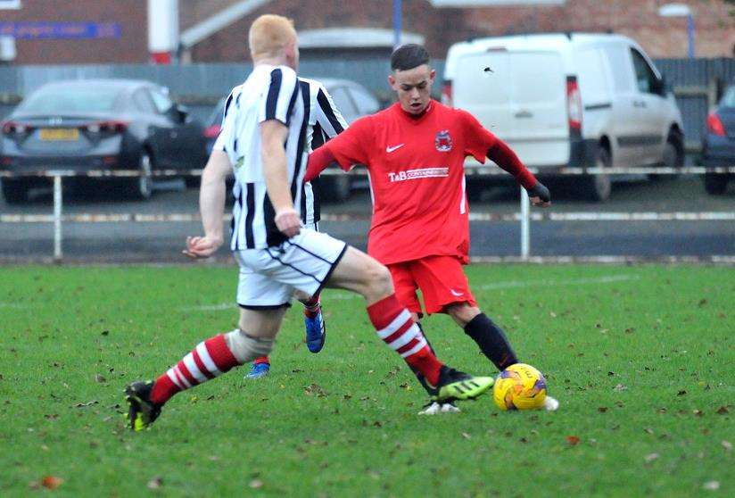 Tyler Wright's return from injury for Pinchbeck United is a boost for the Knights ahead of the busy Christmas fixture schedule. Photo (TIM WILSON): 011218-5