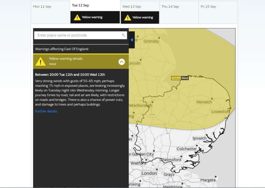 The Met Office map of its warning of high winds for September 12 and 13