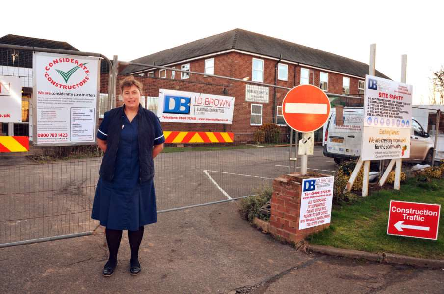Manager Maxine Winch in front of Holbeach Hospital