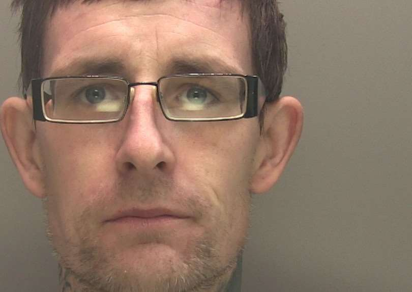Matthew Dye (32) who was jailed for a total of 26 weeks for burglary and shoplifting, including two break-ins on the same day at Classic News, Sheep Market, Spalding, in October 2017. Photo supplied by Lincolnshire Police.