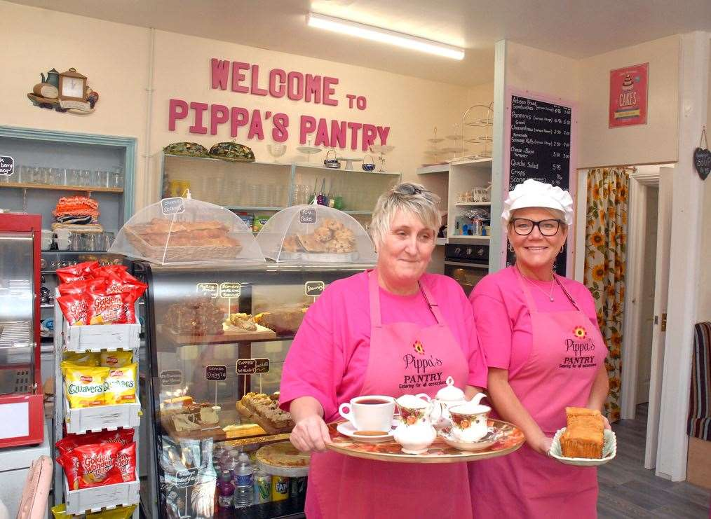 Owner Pippa Jones (left) and Joanne Burton ready to service tea and lemon drizzle cake at Pippa's Pantry in Sutton Bridge.Photo by Tim Wilson.SG-211119-039aTW.
